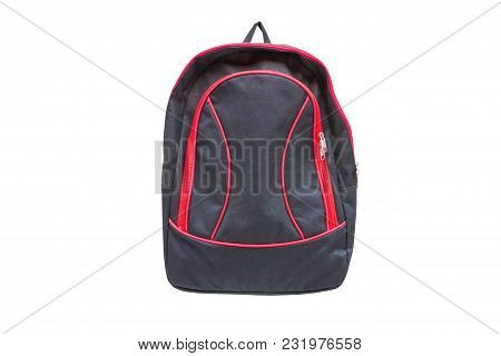 Black Backpack With Red Zipper Isolated On White Background With Clipping Path.