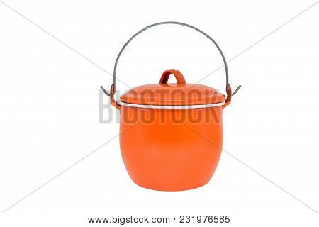 Retro Cookware Pot,isolated On White Background With Clipping Path.