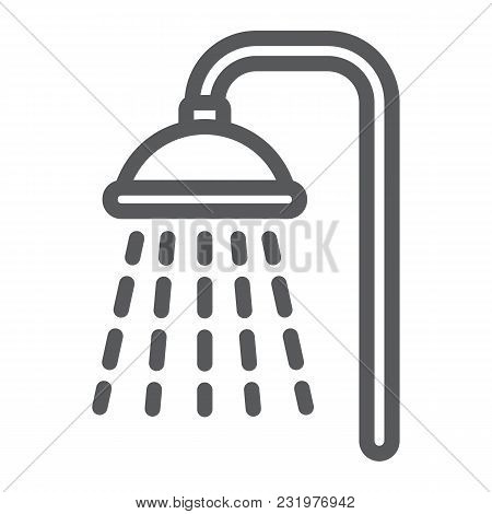 Shower Line Icon, Real Estate And Home, Bath Sign Vector Graphics, A Linear Pattern On A White Backg