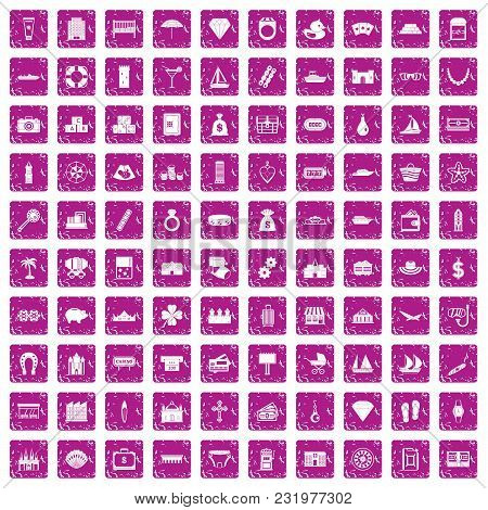 100 Wealth Icons Set In Grunge Style Pink Color Isolated On White Background Vector Illustration