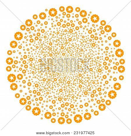 Quality Spiral Circle. Element Centrifugal Explosion Created From Scattered Quality Items. Vector Il