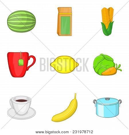 Dietary Vegetable Icons Set. Cartoon Set Of 9 Dietary Vegetable Vector Icons For Web Isolated On Whi