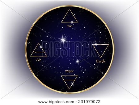 Icon Elements : Air , Earth , Fire And Water. Wiccan Divination Symbols. Ancient Occult Golden Symbo