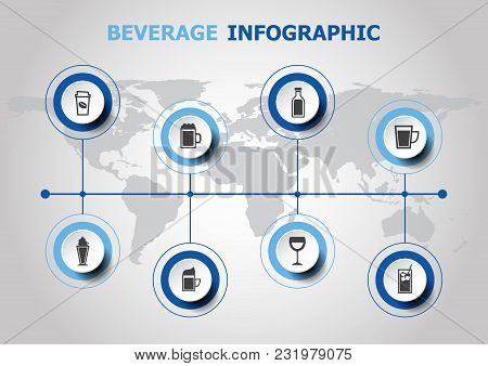 Infographic Design With Beverage Icons, Stock Vector