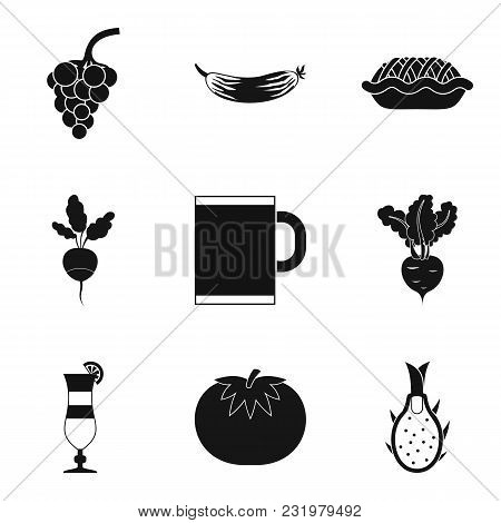 Vegan Tavern Icons Set. Simple Set Of 9 Vegan Tavern Vector Icons For Web Isolated On White Backgrou