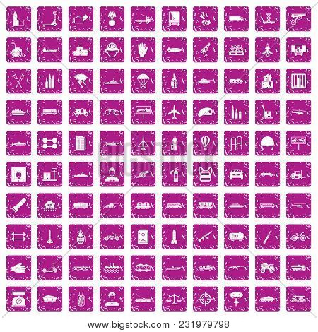 100 Burden Icons Set In Grunge Style Pink Color Isolated On White Background Vector Illustration