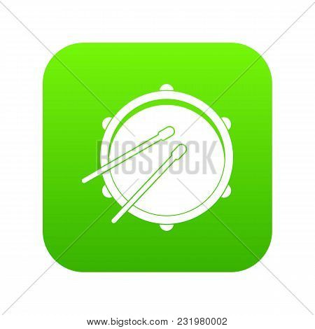 Drum Icon Digital Green For Any Design Isolated On White Vector Illustration