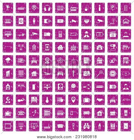 100 Camera Icons Set In Grunge Style Pink Color Isolated On White Background Vector Illustration