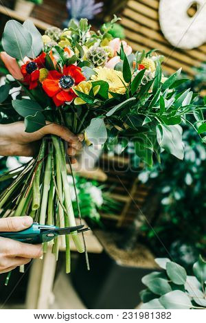 Small Business Of Flower Shop With Woman Owner