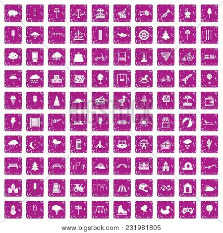 100 Childrens Park Icons Set In Grunge Style Pink Color Isolated On White Background Vector Illustra