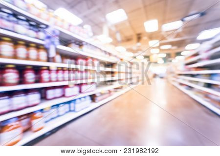 Blurred Abstract Soft Drinks Aisle In American Store