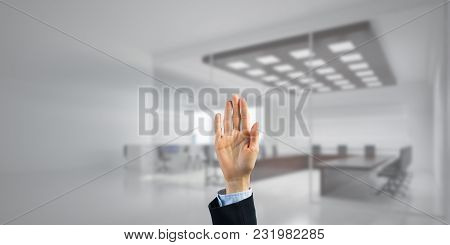 Close Of Businesswoman Hand Touching Screen With Palm And Office At Background