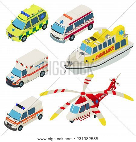 Ambulance Urban Transport Icons Set. Isometric Illustration Of 6 Ambulance Urban Transport Vector Ic
