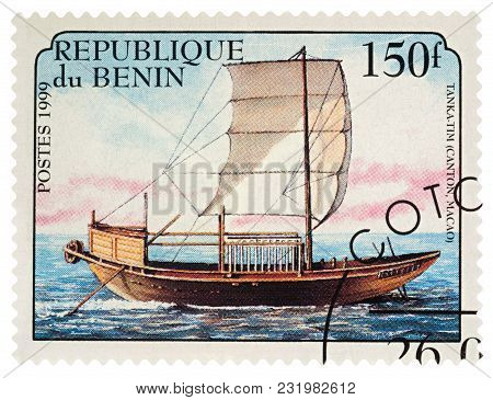 Moscow, Russia - March 19, 2018: A Stamp Printed In Benin Shows Old Sailing Ship Tanka-tim (canton,