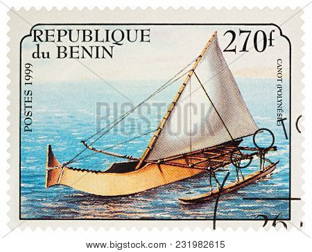 Moscow, Russia - March 19, 2018: A Stamp Printed In Benin Shows Canoeing (polynesia), Series