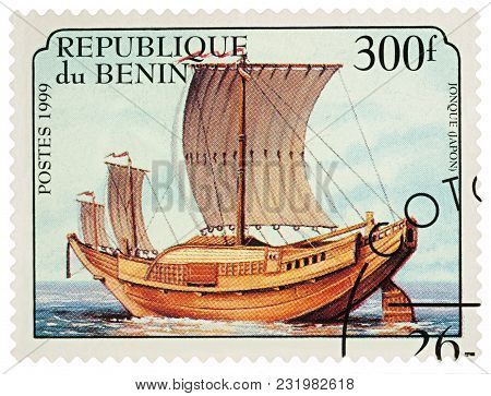 Moscow, Russia - March 20, 2018: A Stamp Printed In Benin Shows Traditional Sailing Boat, Japanese J