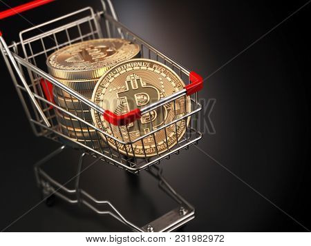 Bitcoin BTC coins in the shopping cart on black background. Cryptocurrency market concept. 3d illustration
