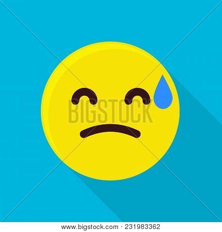 Sweaty Emoticon Icon. Flat Illustration Of Sweaty Emoticon Vector Icon For Web