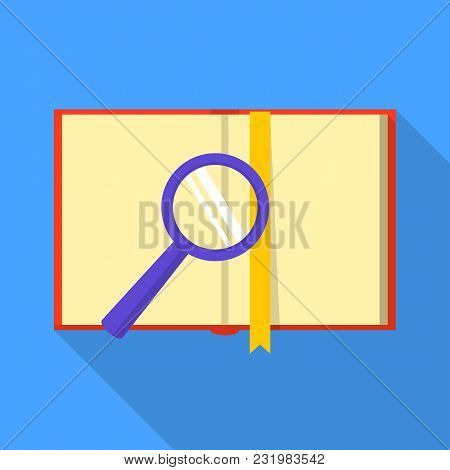 Book On Magnifier Icon. Flat Illustration Of Book On Magnifier Vector Icon For Web
