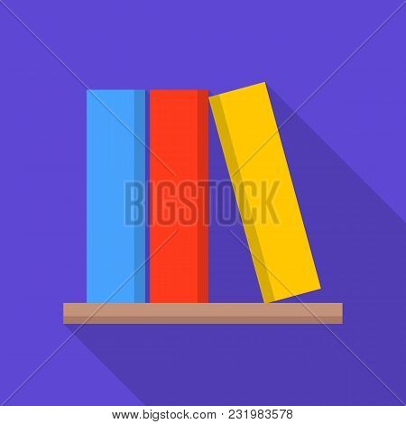 Book On Shelf Icon. Flat Illustration Of Book On Shelf Vector Icon For Web