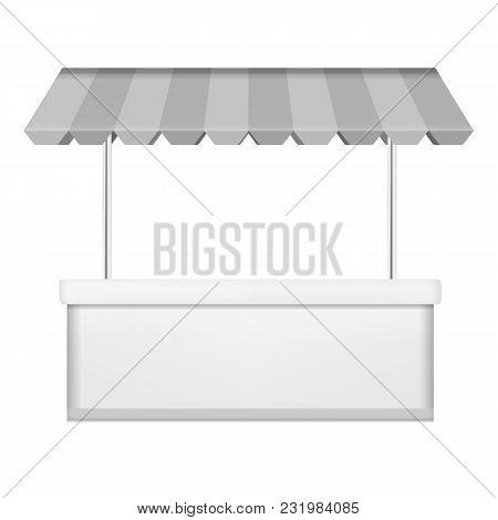 Commercial Kiosk Mockup. Realistic Illustration Of Commercial Kiosk Vector Mockup For Web