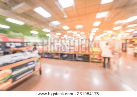Blurred Fresh Organic Vegetables, Fruits In Store At Humble, Texas, Usa