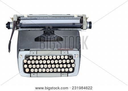 Front View Di Cut Old Typewriter On White Background,object,copy Space