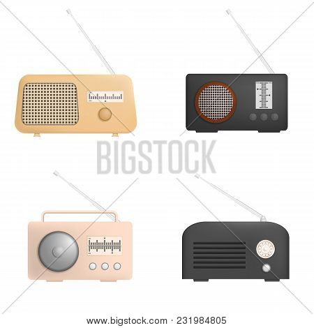 Radio Music Old Device Mockup Set. Realistic Illustration Of 4 Radio Music Old Device Mockups For We