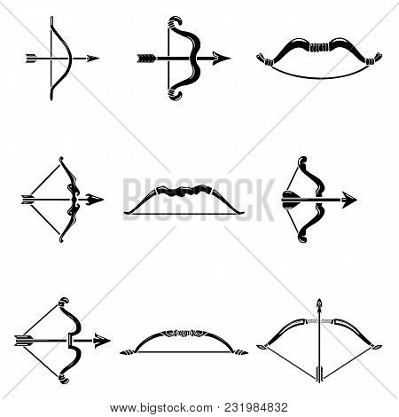 Bow Arrow Weapon Icons Set. Simple Illustration Of 9 Bow Arrow Weapon Vector Icons For Web