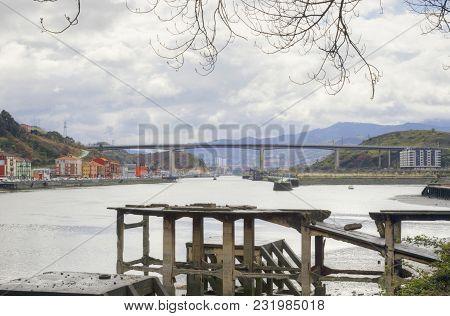 Nervion River And Rontegi Bridge. Spain.