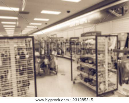 Blurred Motion Inside Off-price Department Stores In America