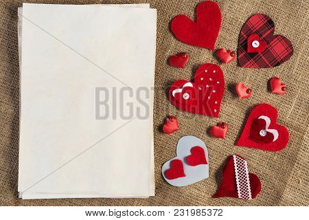 Handmade Love Hearts And Sheets Of Blank Paper