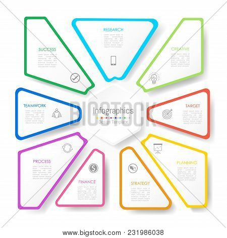 Infographic Design Elements For Your Business Data With 9 Options, Parts, Steps, Timelines Or Proces