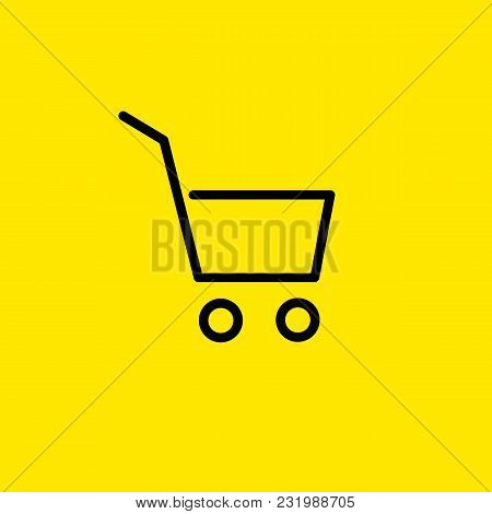 Line Icon Of Shopping Cart. Online Shopping, Supermarket, Cart Place. Shopping Concept. Can Be Used