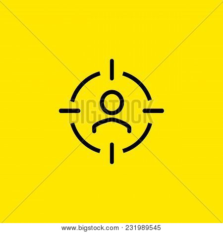 Line Icon Of Target Audience Sign. Consumer, Client, Customer. Trade Management Concept. Can Be Used