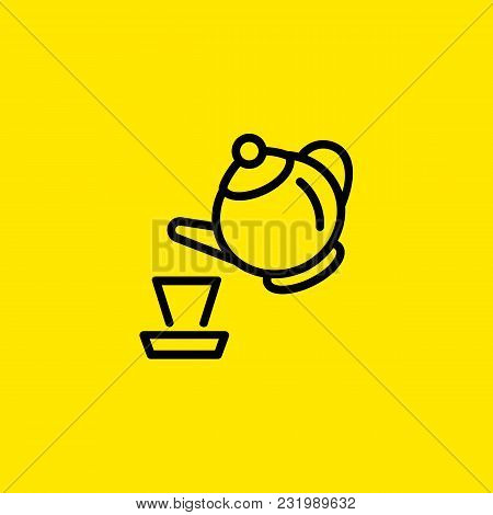 Icon Of Tea Pot And Cup. Kettle, Dish, Teapot. Teatime Concept. Can Be Used For Topics Like Hot Beve
