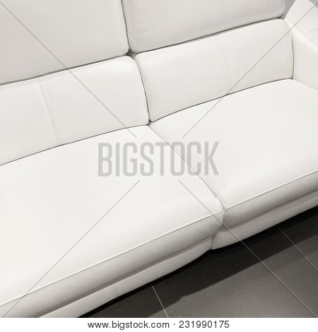 Beautiful Classy White Sofa. Luxurious Leather Furniture.