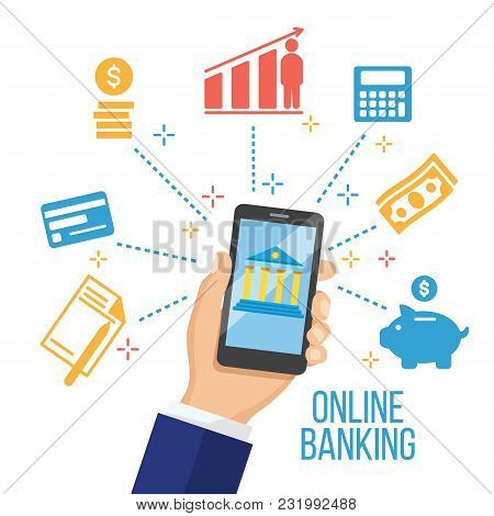 Concept For Mobile Banking And Online Payment. Hand Holding Smartphone With Mobile Payment Elements