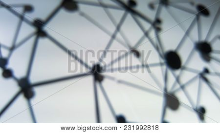 Blur Background Of Sphere Network Connection.