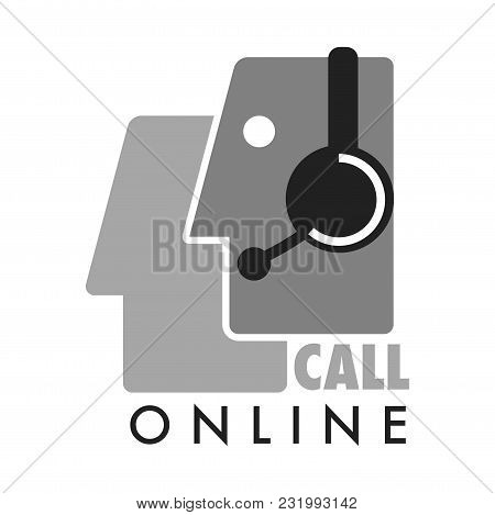 Call Online Service Promotional Monochrome Logotype With Man Profile In Headset. Male Face In Headph
