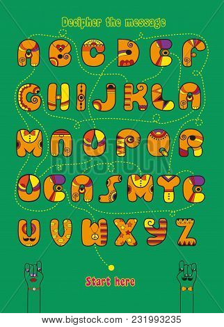 Artistic Alphabet With Encrypted Romantic Message We Make A Good Team. Cartoon Orange Letters With B