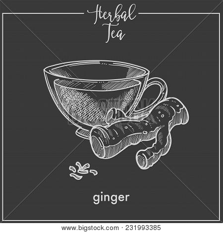 Healthy Herbal Tea With Ginger Root In Glass Cup. Delicious Energetic Hot Drink Full Of Vitamins. Fr