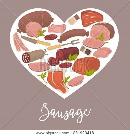 Delicious Smoked And Boiled Sausages Of High Quality Inside Heart On Promotional Banner. Meat Produc