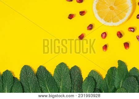 Flat Lay Creative Summer Background Grass Mint Sun Rays Lemon