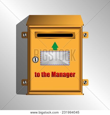 A Mailbox For Letters To The Manager. Vector Illustration
