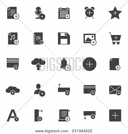 Add Objects Vector Icons Set, Modern Solid Symbol Collection, Filled Style Pictogram Pack. Signs, Lo