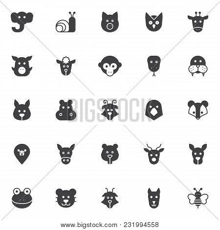 Animals Heads Vector Icons Set, Modern Solid Symbol Collection, Filled Style Pictogram Pack. Signs L
