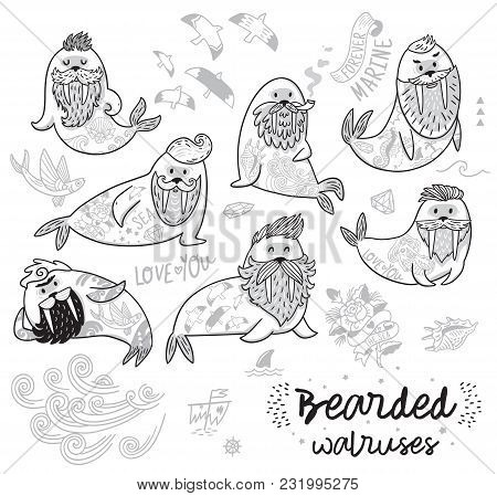 Bearded Walruses Set In Outline. Ink Vector Cartoon Characters Of Funny Walruses With Different Hair