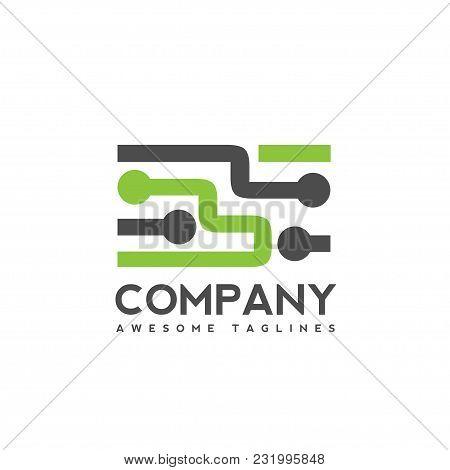 Digital Electronics Logo Design, Creative Electronic Circuits Logo Vector, It Technology Logo Concep