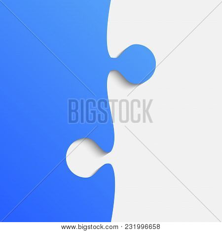 Grey And Blue Piece Puzzle Infographic Presentation. Jigsaw Background.